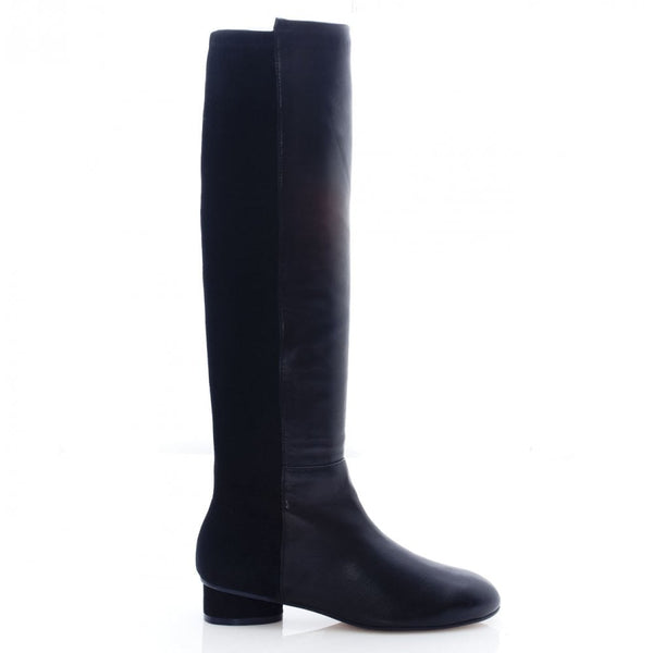 hoity-toity-shoes - Eloise Black Leather and Suede 30mm heel Knee Boot - Stuart Weitzman - Boots