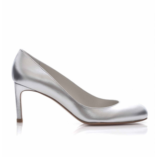 hoity-toity-shoes - Moody Mid Heel Court Shoe in Silver - Stuart Weitzman - Mid Heel,Pumps