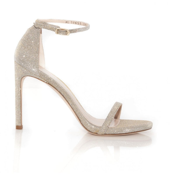 hoity-toity-shoes - Nudistsong High Heel Sandal in Gold Nocturn Magnesium - Stuart Weitzman - Strappy Sandal,High Heel