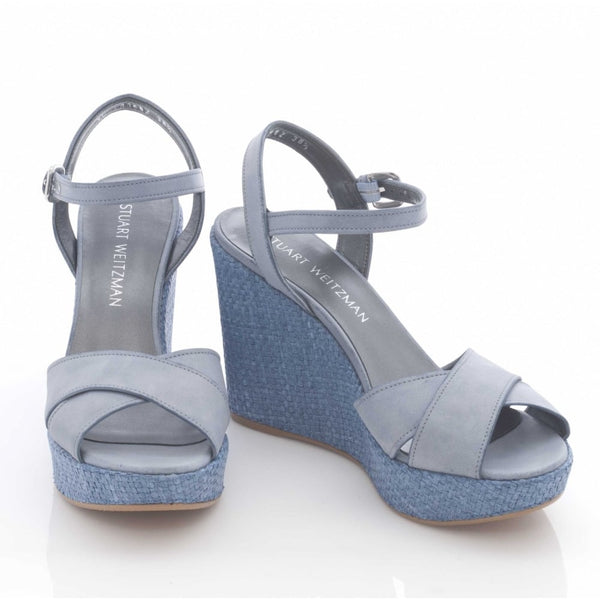 hoity-toity-shoes - Sundry Wedge in Sky Blue suede - Stuart Weitzman - Wedge