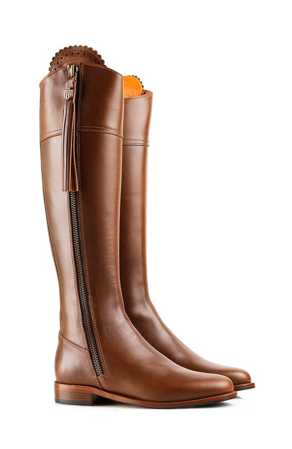 hoity-toity-shoes - Heeled Regina Leather Boot in Tan - Fairfax & Favor - Boots