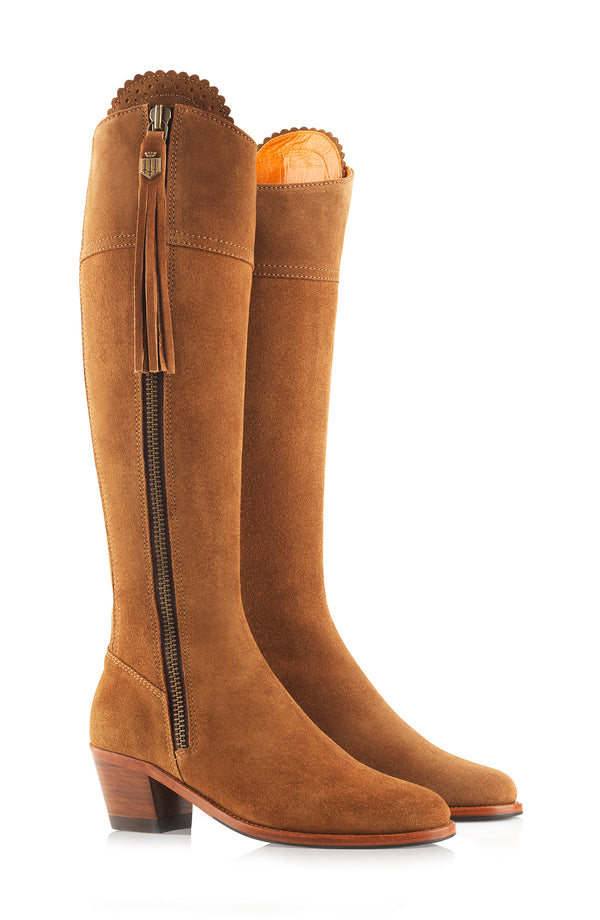 hoity-toity-shoes - Heeled Regina (Tan) Suede Boot - Fairfax & Favor - Boots