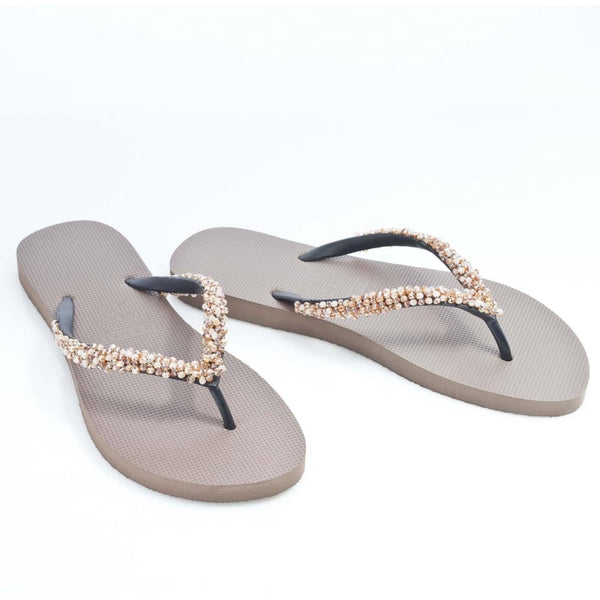 hoity-toity-shoes - Classic Taupe Flip Flop with gemstone embellishments - Uzurii - Flats > Slider,Flats