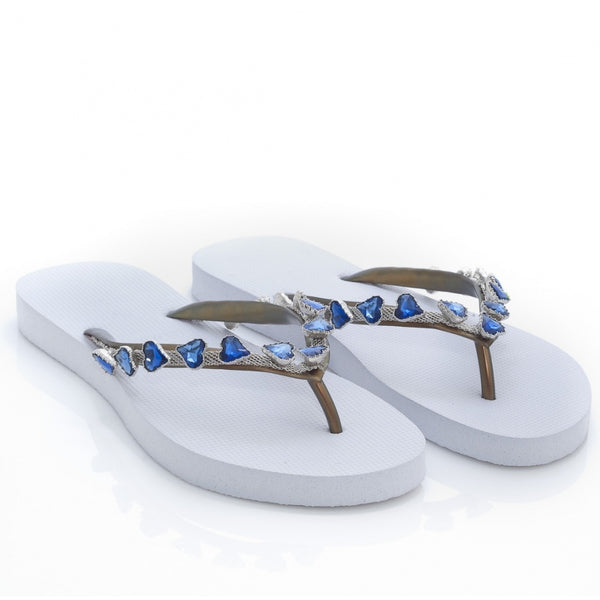 hoity-toity-shoes - Heart Blue Crystal Embellished Flip-Flop - Uzurii - Flats,Strappy Sandal
