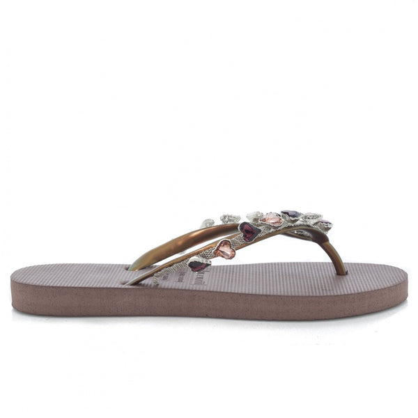 hoity-toity-shoes - Heart Bronze Crystal Embellished Flip Flops with Chocolate Sole - Uzurii - Strappy Sandal,Flats > Slider,Flats