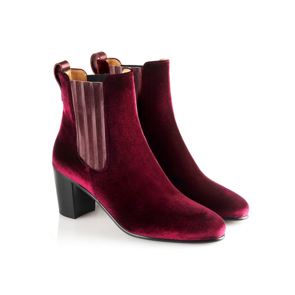 hoity-toity-shoes - Electra Velvet Ankle Boot In Burgundy - Fairfax & Favor - Boots > Ankle Boots,Boots