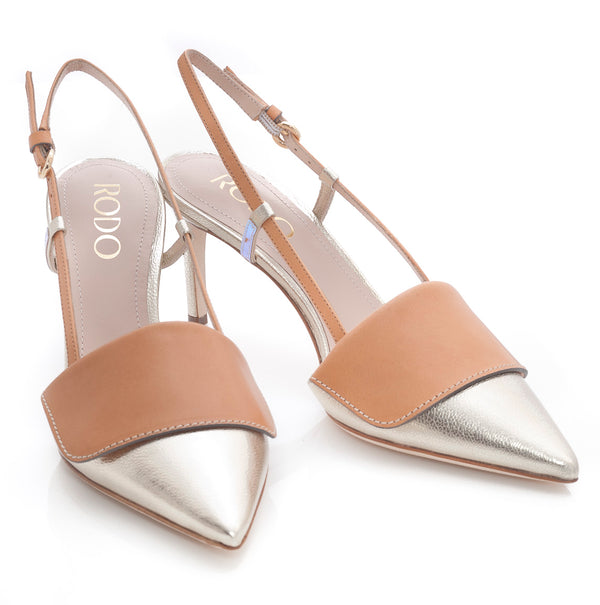 hoity-toity-shoes - Nevada Gold and Nude Leather Mid Heel Slingbacks - Rodo - Mid Heel,Pumps,Slingback