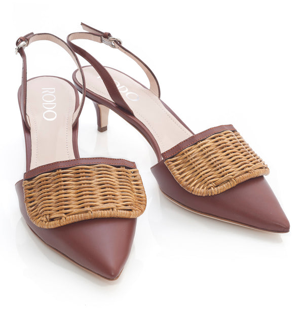 hoity-toity-shoes - Florid Rattan and Conker Brown Leather Low Heel Slingback - Rodo - Mid Heel,Pumps,Slingback