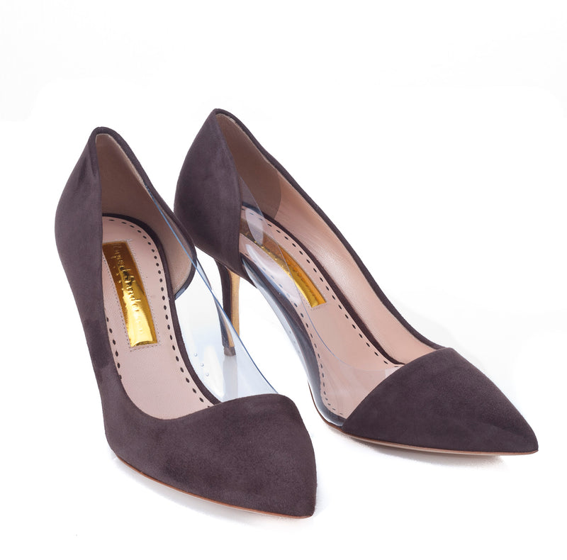 Gemini Mid Heeled Pump in Truffle Suede