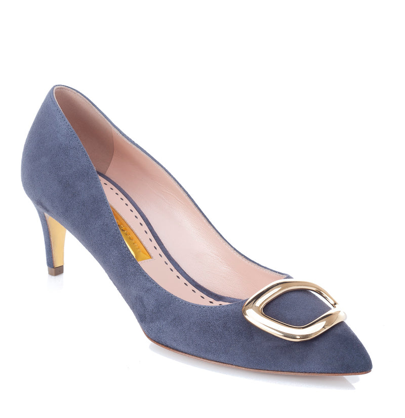 hoity-toity-shoes - Nora Steel Grey Suede Pump with Gold Buckle - Rupert Sanderson - Mid Heel,Pumps