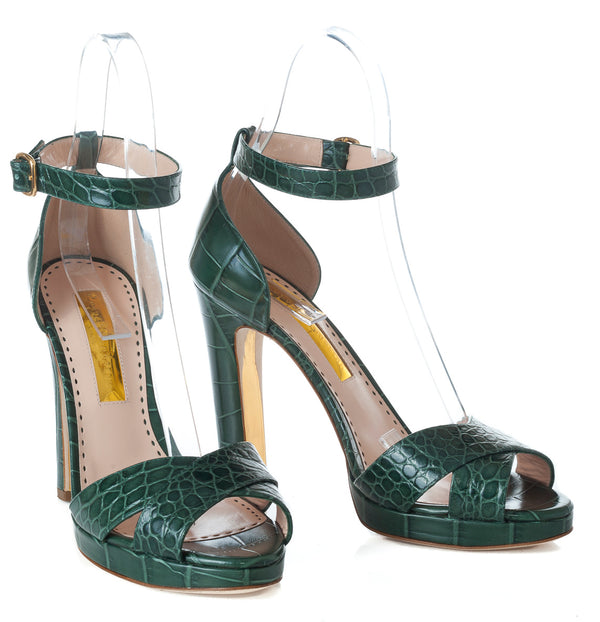 hoity-toity-shoes - Meadow Moc Croc Platform Sandal in Sage Green Leather - Rupert Sanderson - High Heel, Strappy Sandal