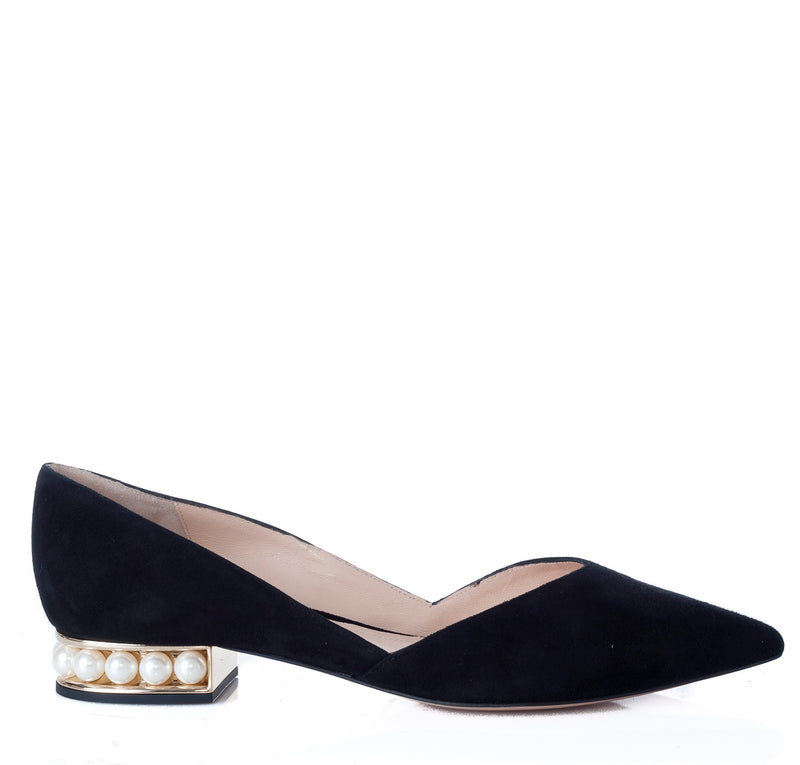hoity-toity-shoes - Casati Pearls Flat D'Orsay Pumps in Black Suede - Nicholas Kirkwood - Flats,Low Heel,Pumps