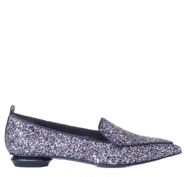 hoity-toity-shoes - Glittered Leather Beya Loafers in Gunmetal and Fuchsia - Nicholas Kirkwood - Flats > Flat Loafer,Flats