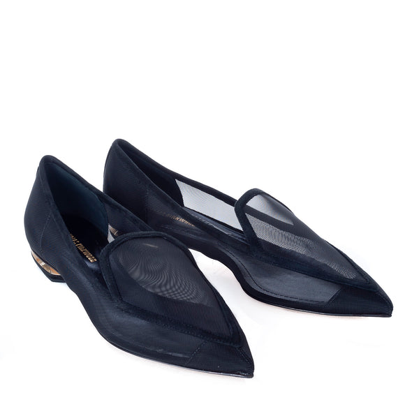 hoity-toity-shoes - Beya Loafer in Black Mesh - Nicholas Kirkwood - Flats > Flat Loafer