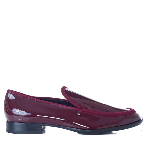 hoity-toity-shoes - Patent Loafer with velour tonal trim in Plum - AGL - Flats > Flat Loafer