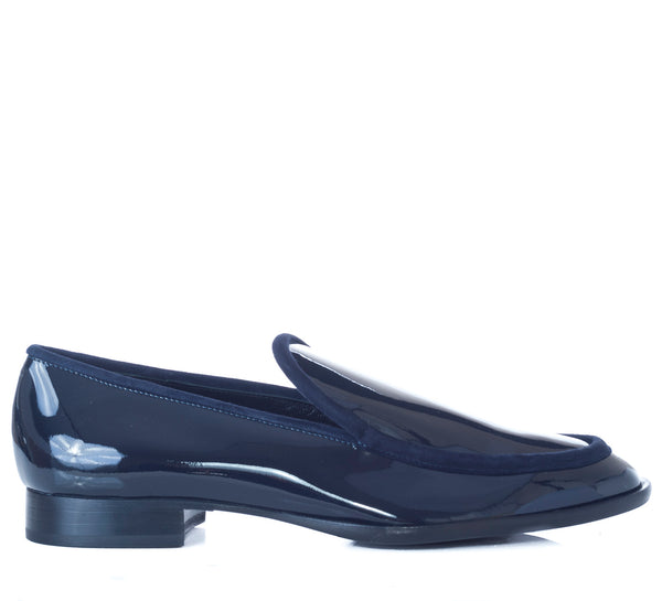 hoity-toity-shoes - Patent Loafer with velour tonal trim in navy - AGL - Flats > Flat Loafer