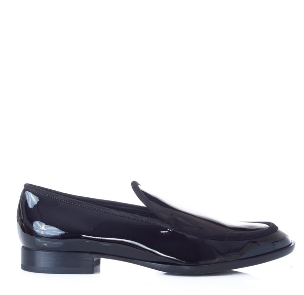 hoity-toity-shoes - Patent Loafer with velour tonal trim in Black - AGL - Flats > Flat Loafer