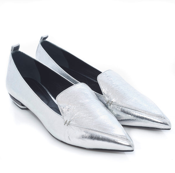 hoity-toity-shoes - Nicholas Kirkwood Beya Silver Crackled Metalic Leather Loafer - Nicholas Kirkwood - Flats > Flat Loafer,Flats