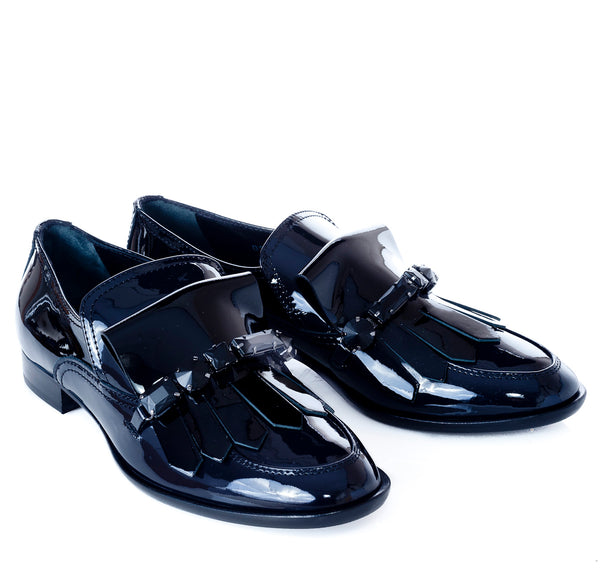 hoity-toity-shoes - Patent Loafer with Fringe and Jet Stone in navy and black - AGL - Flats > Flat Loafer