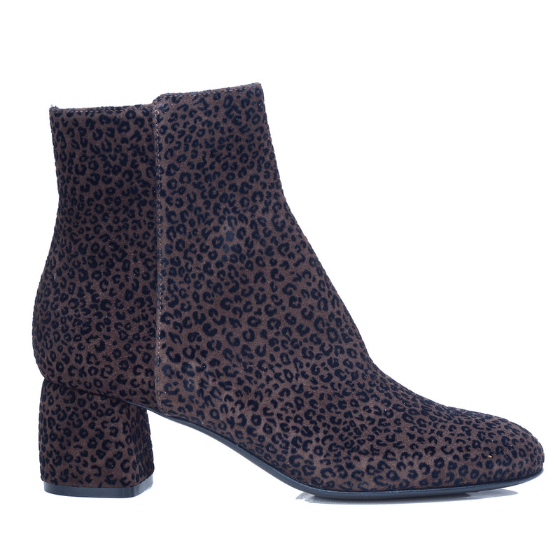 hoity-toity-shoes - Animal print velour ankle boot in coffee - AGL - Boots > Ankle Boots,Boots