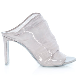hoity-toity-shoes - D'Arcy High Heeled Peep Toe Mule in Grey Aluminium - Nicholas Kirkwood - Mule,High Heel