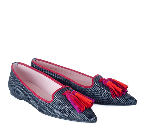 hoity-toity-shoes - Ella pointed flats with Prince of Wales Check in printed suede - Pretty Ballerinas - Flats > Flat Loafer