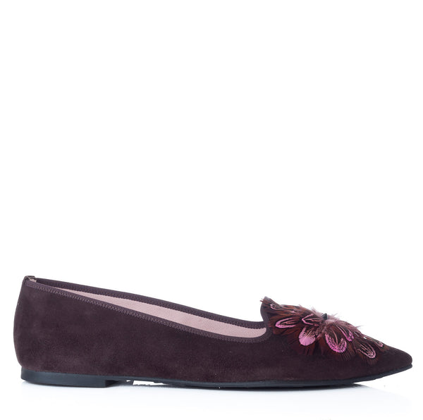 hoity-toity-shoes - Ella Pointed Flat in soft chocolate suede with pink feather detail - Pretty Ballerinas - Flats > Flat Loafer