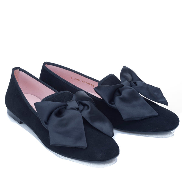 hoity-toity-shoes - Carla Square Toed Black Suede Flat with Satin Bow Detail - Pretty Ballerinas - Flats > Flat Loafer