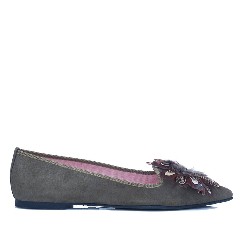 Ella Pointed Flat in sage green suede with brown feather detail