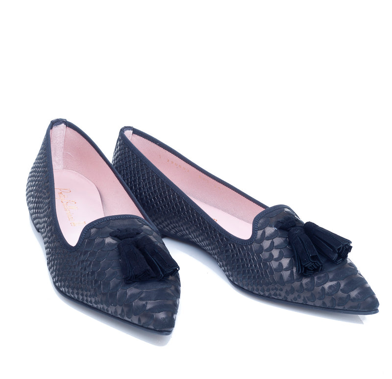 Ella Pointed Flat in soft black leather in moc snake skin with tassel detail