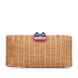 Wicker and Leather Clutch Bag