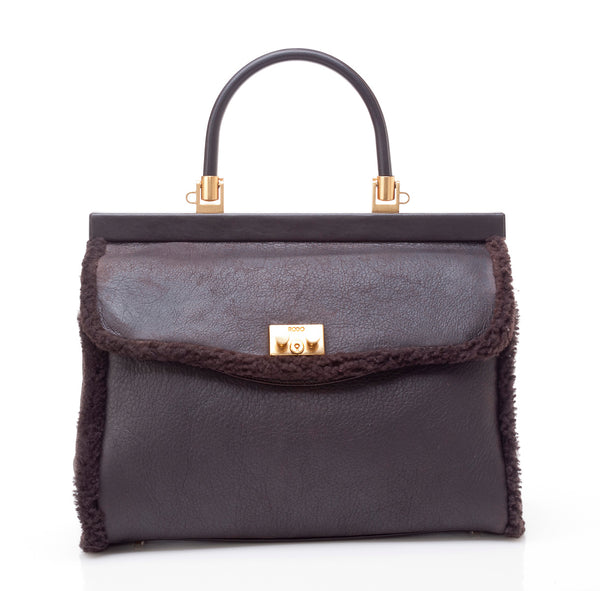 Rodo Paris Bag in Brown Leather and Shearling