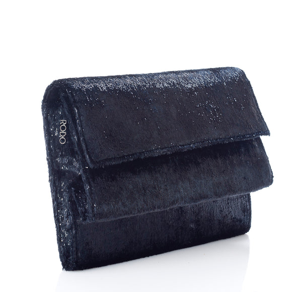 Rodo Palladium Clutch Bag in Black Charleston Fabric