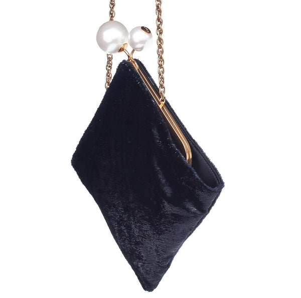 Rodo Lozenge Clutch in Black Charlseton fabric