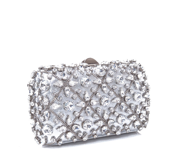 Rodo Clutch in Silver Burma with Crystals