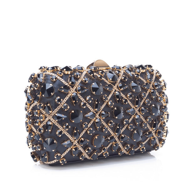 Rodo Clutch in Black Burma with Crystals