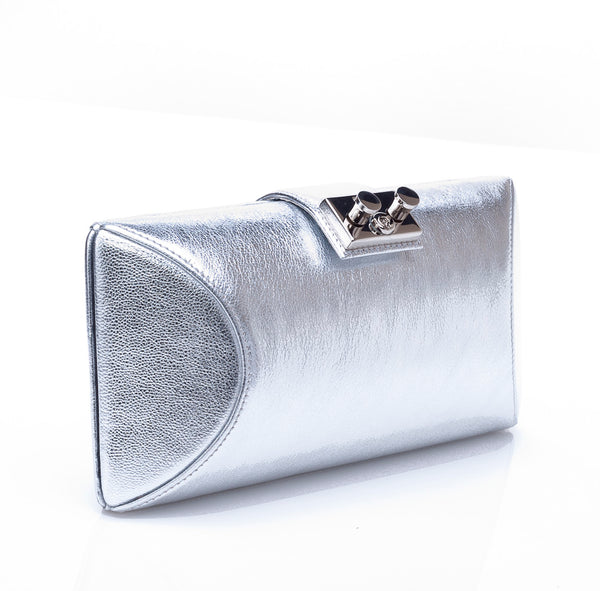 Rodo Tube Plus Clutch in Silver Leather