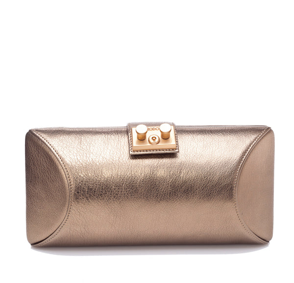 Rodo Tube Plus Clutch in Gold Leather
