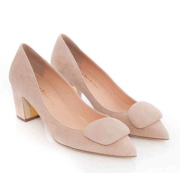 hoity-toity-shoes - New Clava Mid Heeled Pebble Pump in Buttermilk Suede - Rupert Sanderson - Pumps,Mid Heel