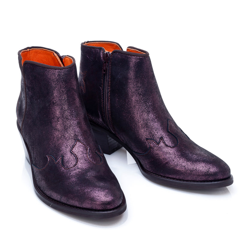 Granada Ankle Cowboy Boot in Grape Metallic leather