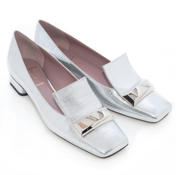 Adalberta Low Heel Pumps in Silver Bamboo Lame