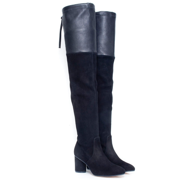 hoity-toity-shoes - Helena Over the Knee Black Leather and Suede 75mm Heel Boots - Stuart Weitzman - Boots