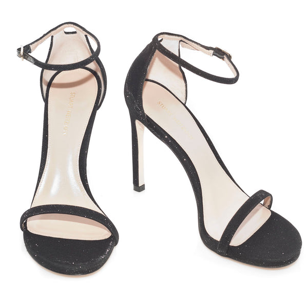 hoity-toity-shoes - Nudistsong 105mm High Heel Stappy Sandal in Black Nero Nocturn - Stuart Weitzman - High Heel,Strappy Sandal