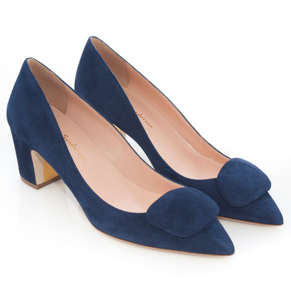 New Clava Mid Heeled Pebble Pump in Twilight (navy) Blue Suede