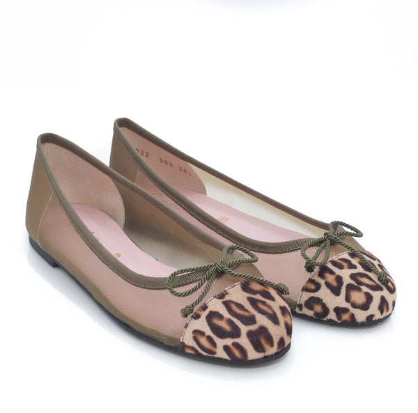 Marilyn Ballet Flat in sage net with animal print toe