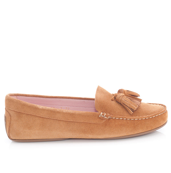 Josephine Driver Shoe in Tan suede