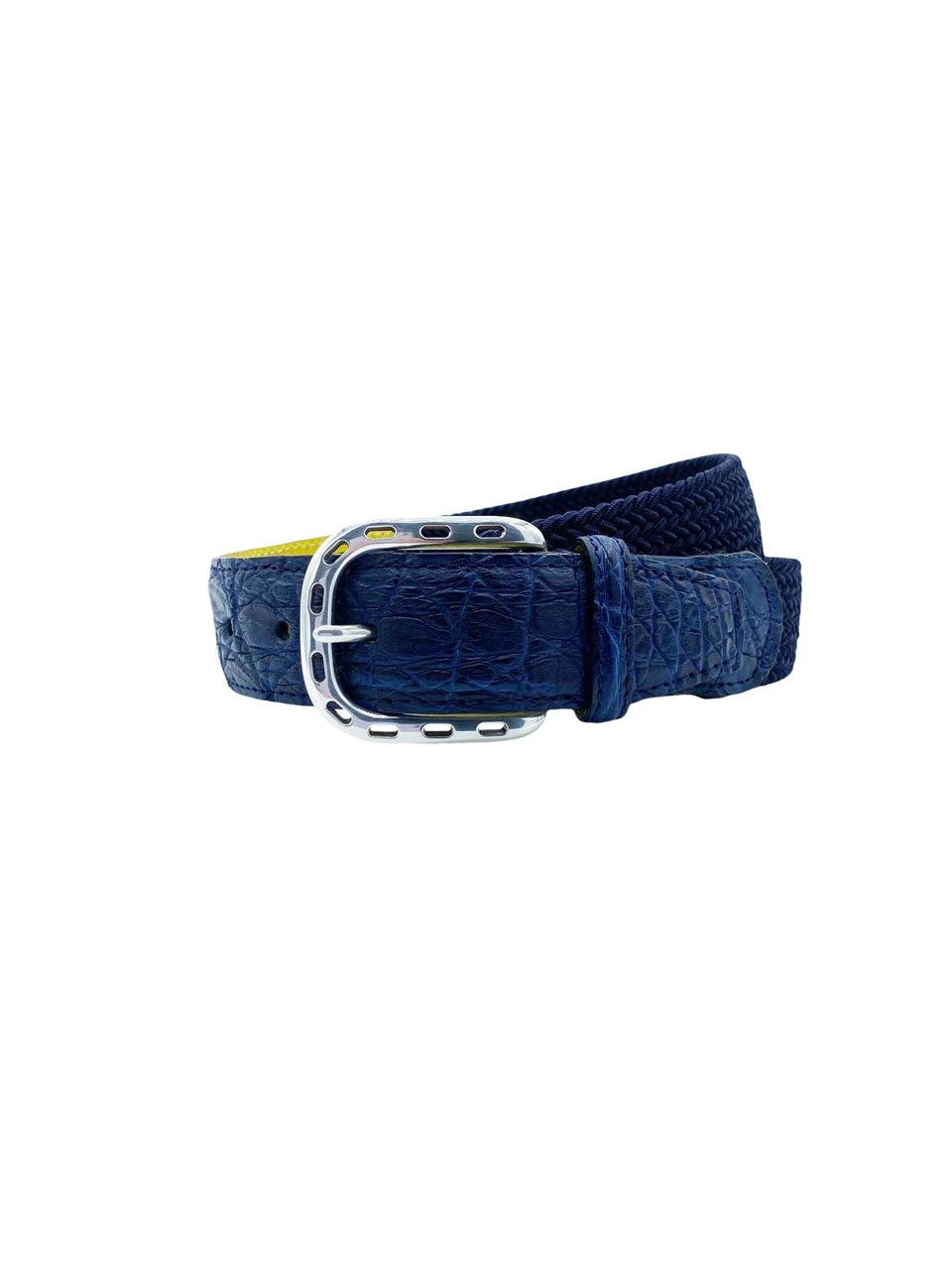 Navy Woven Belt with Blue Alligator Detail