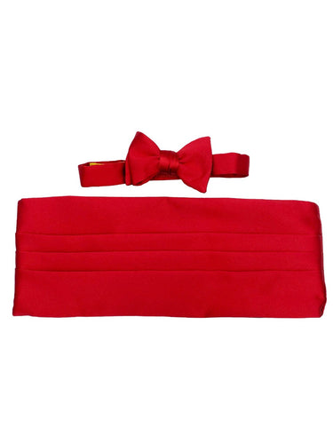 red silk bow tie & cummerbund set made in usa