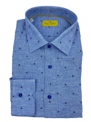 blended blue & white lino shirt with raised navy dot made in italy