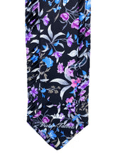 Load image into Gallery viewer, Lavender & Blue Floral Pleated Necktie & Pocket Square Set